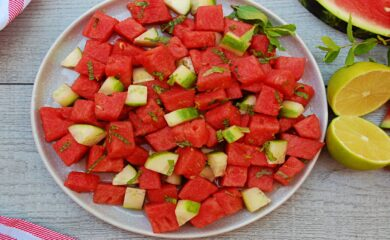 Watermelon Salad with Cucumber and Fresh Mint