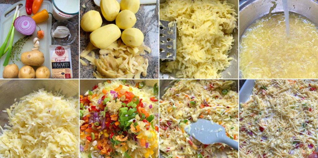 Prep ingredients by shredding and soaking potatoes then chop fresh veggies and herbs